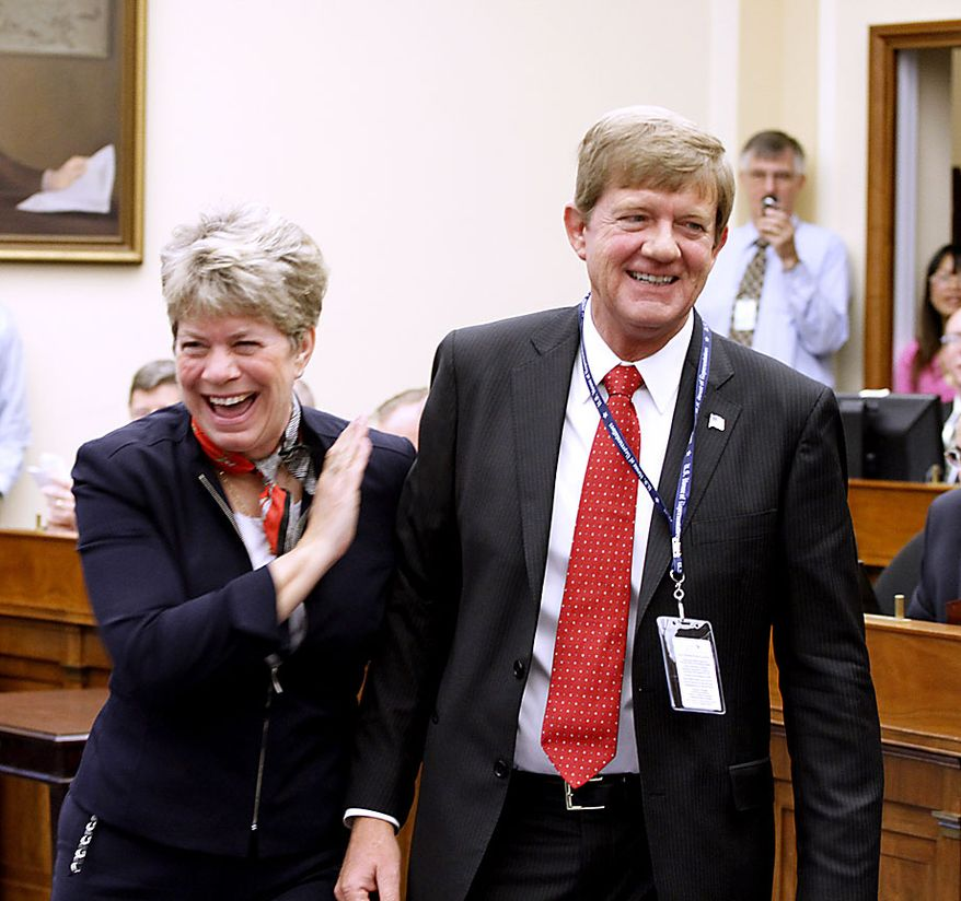 Rep.-elect Scott Tipton R-Colo., and his wife Jean, who drew the lucky 13, as the incoming Freshman-elect members of the House of Representatives drew in a lottery to pick their office space  on Capitol Hill in Washington, D. C.,   Friday, Nov. 19, 2010.(AP Photo/Harry Hamburg)