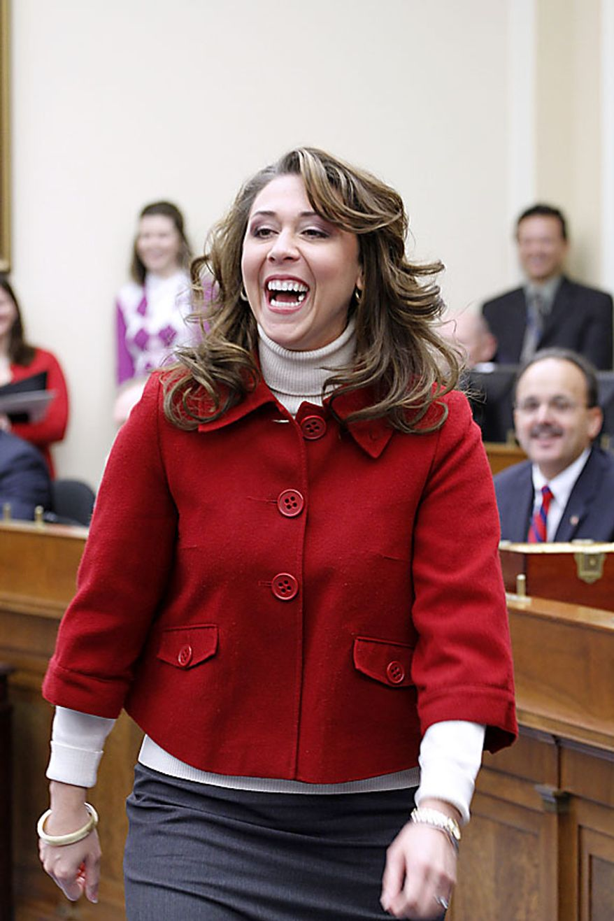 Rep.-elect Jamie Herrera, R-Wash., reacts on Capitol Hill in Washington,  Friday, Nov. 19, 2010,  as the incoming House of Representatives members drew in a lottery to pick their office space. (AP Photo/Harry Hamburg)