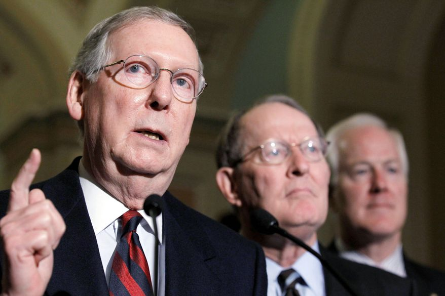 """Americans don't want Congress passing massive trillion-dollar bills that have been thrown together behind closed doors,"" Senate Minority Leader Mitch McConnell, here with Sen. Lamar Alexander (center), said recently. Big-ticket economic issues face the lame-duck Congress after Thanksgiving. (Associated Press)"