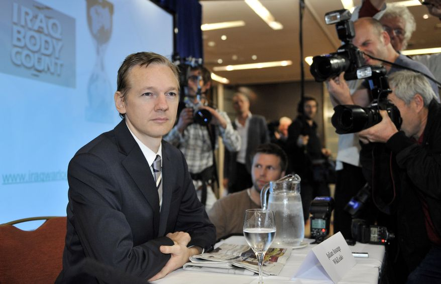Founder of the WikiLeaks website, Julian Assange, poses prior to a press conference in London, Saturday, Oct. 23, 2010, when WikiLeaks revealed previously secret files on the Iraq war -- the biggest leak of secret information in U.S. history. (AP Photo/Lennart Preiss)