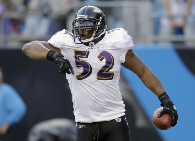 ASSOCIATED PRESS Baltimore Ravens' Ray Lewis (52) reacts after his interception return for a touchdown against the Carolina Panthers in the second half of an NFL football game in Charlotte, N.C., Sunday, Nov. 21, 2010.