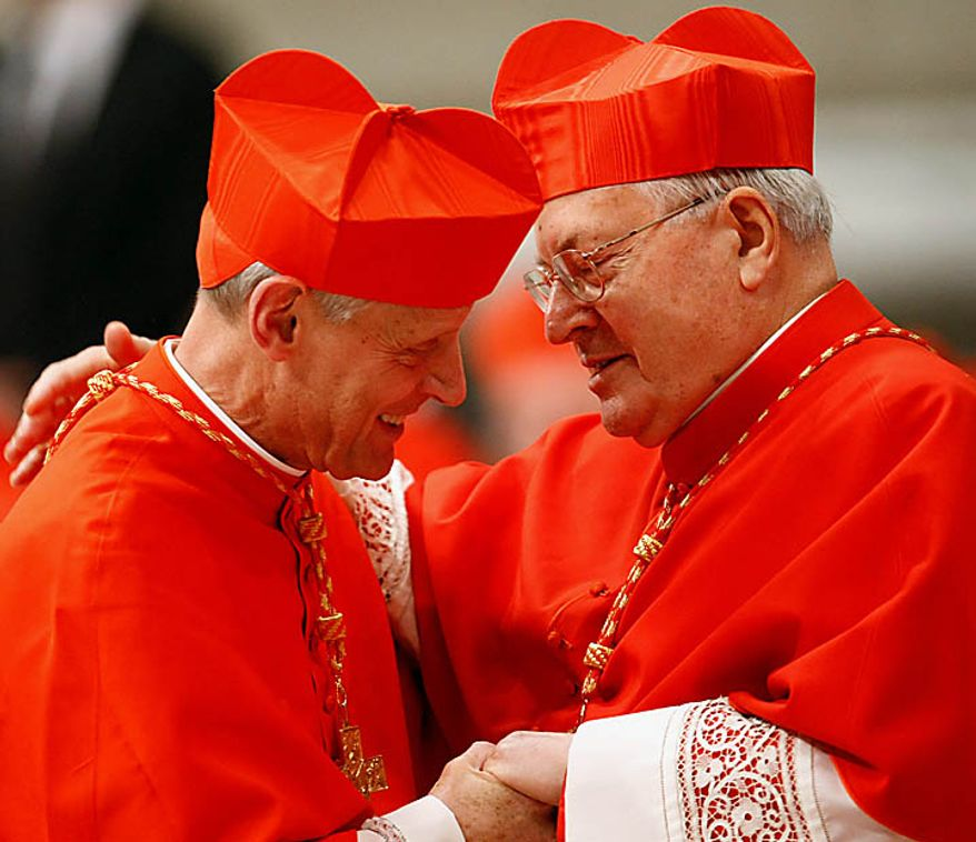 Newly-appointed US Cardinal Donald W. Wuerl, left, is congratulated by Cardinal Angelo Sodano after being elevated by Pope Benedict XVI during a consistory inside St. Peter's Basilica, at the Vatican, Saturday, Nov. 20, 2010. Benedict XVI formally created 24 new cardinals on Saturday amid cheers in St. Peter's Basilica, bringing a mostly Italian group into the elite club that will eventually elect his successor. (AP Photo/Pier Paolo Cito)