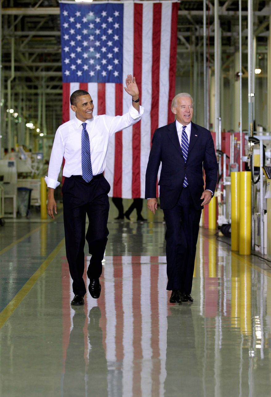 President Obama and Vice President Joseph R. Biden Jr. tour Chrysler's Indiana Transmission Plant II in Kokomo, Ind., on Tuesday. Mr. Obama is embarking on a mission to change the public's mood. (Associated Press)