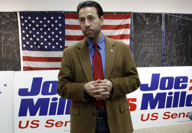 In this Nov. 9, 2010 file photo, Republican Joe Miller speaks with reporters during a press conference in Juneau, Alaska. Alaska's bitterly contested Senate election went to state court Monday, Nov. 22, 2010, when Mr. Miller sued the state over the way write-in ballots for his GOP rival have been counted. (AP Photo/Rick Bowmer, File)
