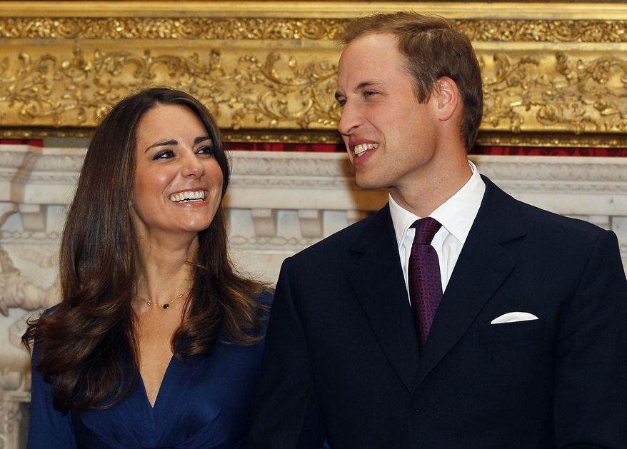 Britain's Prince William and his fiancee, Kate Middleton, are seen at St. James's Palace in London on Nov. 16, 2010, after the announcement of their engagement. The couple will marry on April 29, 2011, in Westminster Abbey, the historic London church where Princess Diana's funeral was held. (AP Photo/Kirsty Wigglesworth, File)