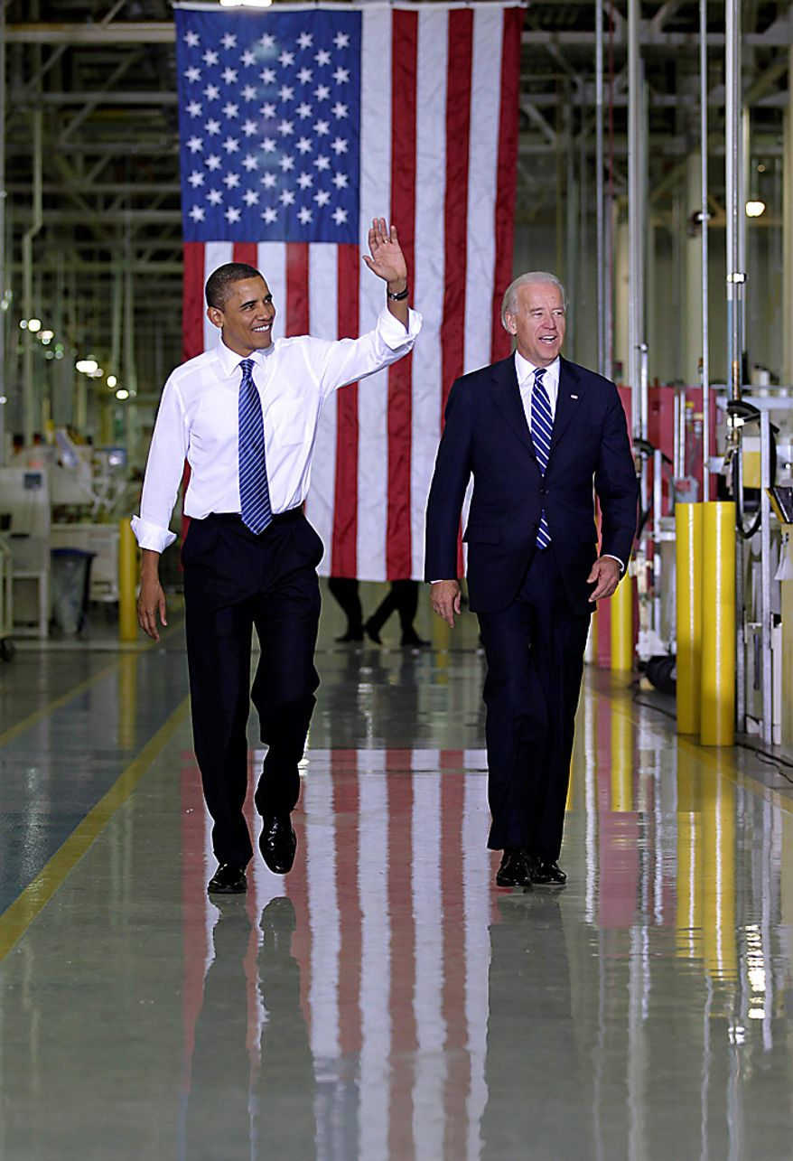 President Barack Obama and Vice President Joe Biden tour Chrysler's Indiana Transmission Plant II in Kokomo, Ind., Tuesday, Nov. 23, 2010.  (AP Photo/J. Scott Applewhite)