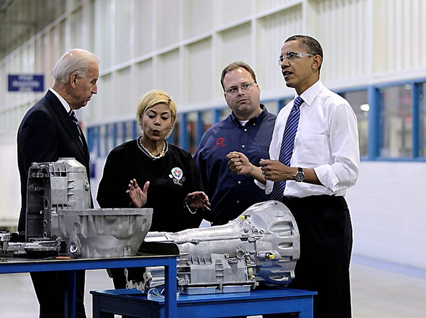 President Barack Obama and Vice President Joe Biden tour Chrysler's Indiana Transmission Plant II in Kokomo, Ind., Tuesday, Nov. 23, 2010.  (AP Photo/J. Scott Applewhite)