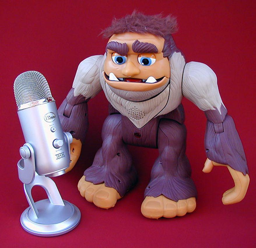 Fisher-Price's Bigfoot meets Blue Microphone's Yeti. (Photograph by Joseph Szadkowski)