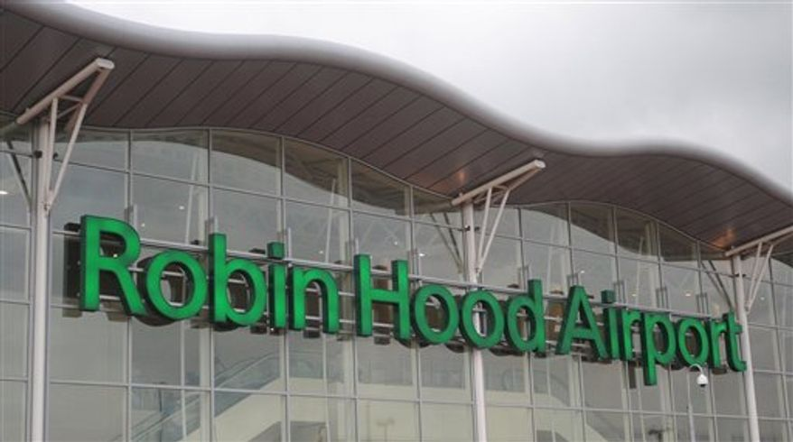In this May 16, 2008 photo, the exterior of a passenger terminal building at Robin Hood Airport, Doncaster, England. A man who was convicted and fined for tweeting that he planned to blow up an airport will take his case to Britain's High Court in a test of the limits of free speech on the Internet, his lawyers said Monday, Nov. 22, 2010. Attorneys for Paul Chambers said prominent human rights lawyer Ben Emmerson has been instructed to lead the legal challenge to Chambers' conviction. (AP Photo/Anna Gowthorpe, PA) UNITED KINGDOM OUT NO SALES NO ARCHIVE