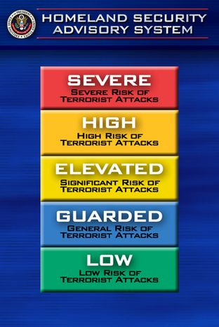 The Homeland Security Department is proposing to discontinue the color-coded terror alert system that became a symbol of the country's post-9/11 jitters and the butt of late-night talk show jokes.  (AP Photo/Joe Marquette, File)