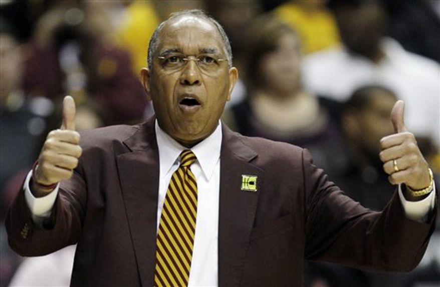 FILE - In this March 14, 2010, file photo, Minnesota coach Tubby Smith signals his players in the first half of an NCAA college basketball game against Ohio State in the final of the Big Ten tournament in Indianapolis. Smith has called this his deepest and most athletic team at Minnesota.  (AP Photo/Darron Cummings, File)