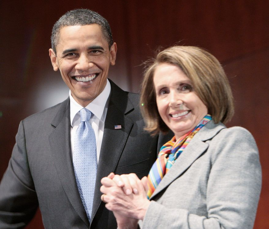 President Obama and House Speaker Nancy Pelosi, California Democrat, want to repair their injured party after devastating congressional election losses but have diverging mandates at a critical time. (Associated Press)