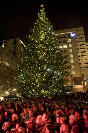 The tree is lit on Pioneer Courthouse square Friday night, Nov. 26, 2010, to the music of Pink Martini in front of a shoulder-to-shoulder crowd singing holiday music in the square. A Somali-born teenager, Mohamed Osman Mohamud, 19, was arrested at 5:40 p.m. just after he dialed a cell phone that he thought would blow up a van laden with explosives but instead brought federal agents and Portland police swooping in to take him into custody, federal prosecutors said. (AP Photo/Torsten Kjellstrand -- The Oregonian)