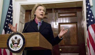 Secretary of State Hillary Rodham Clinton addresses the release of diplomatic documents on WikiLeaks on Monday, Nov. 29, 2010, at the State Department in Washington. (AP Photo/Evan Vucci)