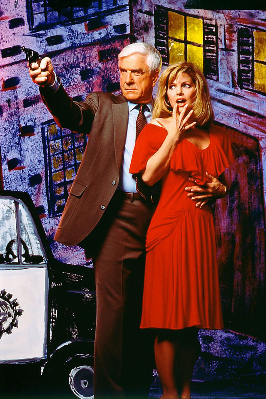 "This 1988 publicity file photo provided by Paramount Pictures shows actor Leslie Nielsen, left, with actress Priscilla Presley in the fim ""The Naked Gun"". The Canadian-born Nielsen, who went from drama to inspired bumbling as a hapless doctor in ""Airplane!"" and the accident-prone detective Frank Drebin in ""The Naked Gun"" comedies, has died. He was 84. His agent John S. Kelly said the actor died Sunday, Nov. 28, 2010, at a hospital near his home in Florida where he was being treated for pneumonia. (AP Photo/Paramount Pictures, Steven Schapiro, File)"
