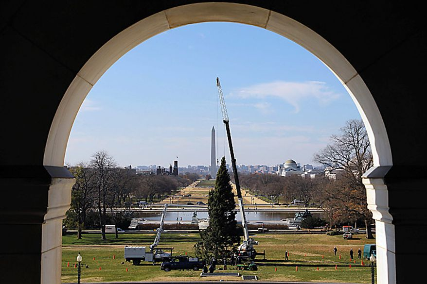The Capitol Christmas tree is placed on the West Front of the Capitol in Washington, Monday, Nov. 29, 2010. The tree was cut down earlier this month in the Bridger-Teton National Forest in northwest Wyoming. The Washington Monument is in the background. (AP Photo/Alex Brandon)