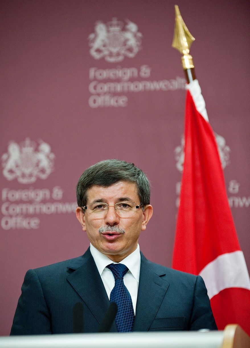 ASSOCIATED PRESS Turkish Foreign Minister Ahmet Davutoglu dismisses as speculation a publicized report that Turkey had listed Israel as a threat in a policy paper.