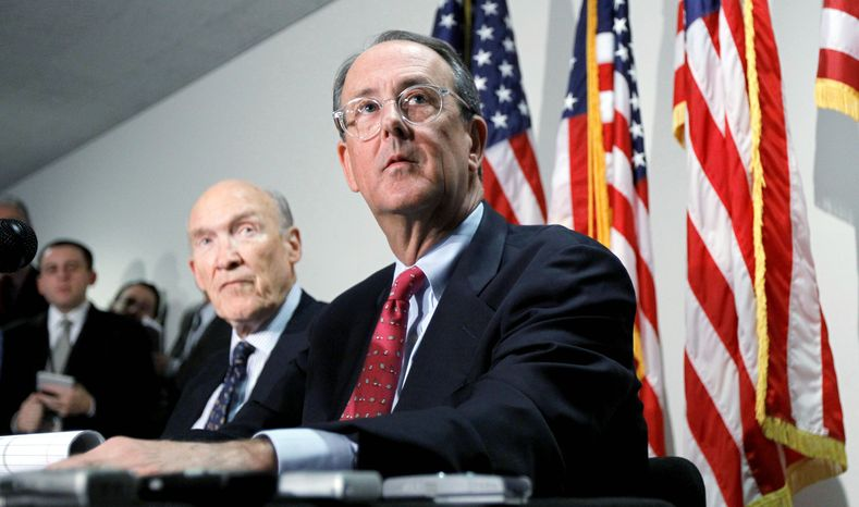 ASSOCIATED PRESS Erskine Bowles (right) and Alan Simpson, co-chairmen of President Obama's independent commission, said they are not sure whether they will have the supermajority of votes needed Friday to approve an aggressive deficit-reduction plan to submit to Congress.