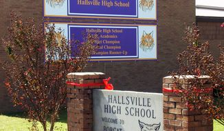 The exterior of Hallsville High School in Hallsville, Texas, is pictured in 2010. (AP Photo/Danny Robbins)