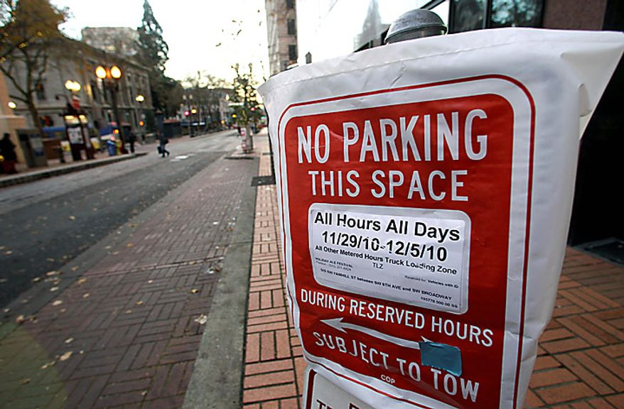 An empty parking space is shown near Pioneer Courthouse Square, Monday, Nov. 29, 2010, in Portland, Ore.  Terror suspect Mohamed Osman Mohamud and an FBI operative parked a van full of dummy explosives in this space on Southwest Yamhill Street across from Pioneer Courthouse Square just after sundown Friday while thousands gathered in the square for the annual tree lighting. Mohamud is accused of attempting to detonate the explosives. (AP Photo/Rick Bowmer)