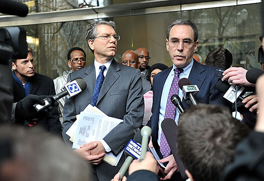 Steven T. Wax, right, federal public defender and Stephen R. Sady, the chief deputy public defender, speak to reporters following an appearance in federal court by terror suspect Mohamed Osman Mohamud on Monday, Nov. 29, 2010, in Portland, Ore.  Authorities say Mohamud and an FBI operative parked a van full of dummy explosives on Southwest Yamhill Street across from Pioneer Courthouse Square just after sundown Friday while thousands gathered in the square for the annual tree lighting. Mohamud is accused of attempting to detonate the explosives. (AP Photo/Steve Dykes)