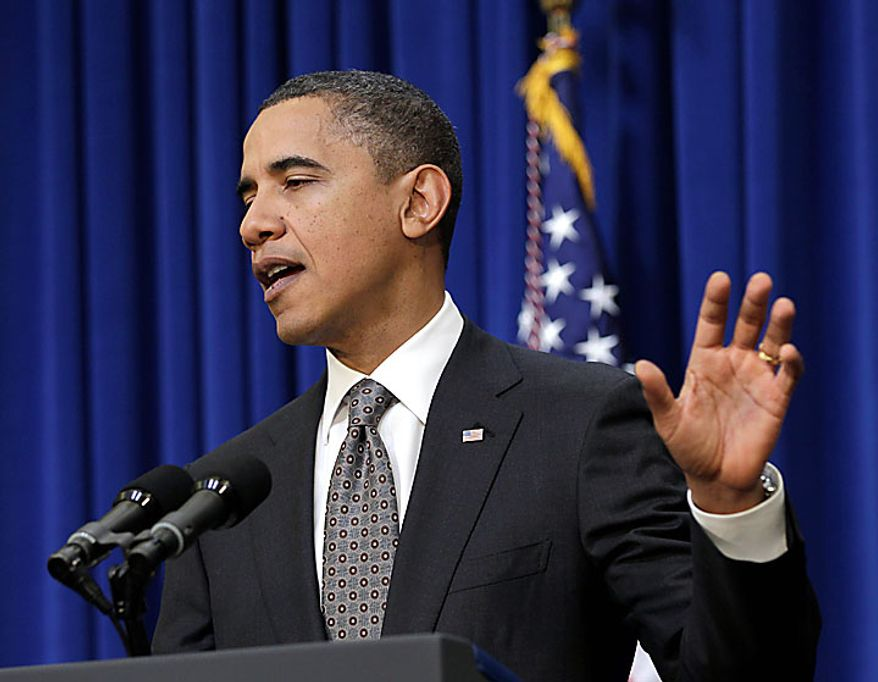 President Barack Obama makes a statement in the Eisenhower Executive Office Building, on the White House campus in Washington, Tuesday, Nov. 30, 2010,  about his meeting today with Republican and Democratic Congressional leaders.  (AP Photo/J. Scott Applewhite)