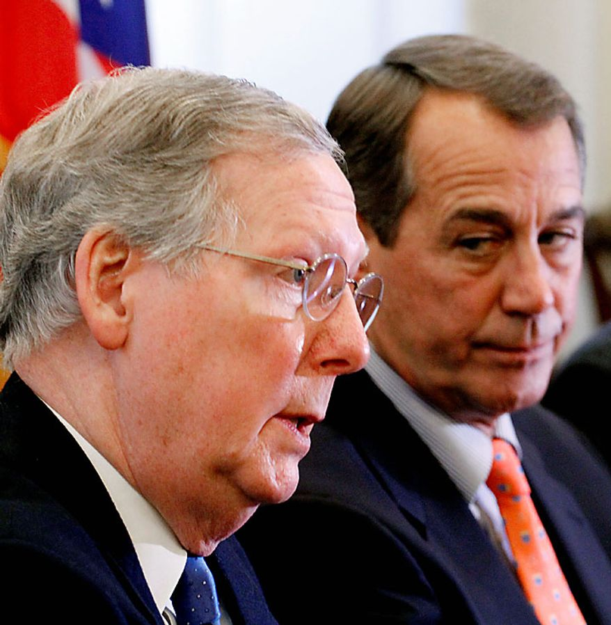 Recent calls for a repeal of Obamacare serve as a reminder of the pressure Sen. Mitch McConnell of Kentucky and House Speaker John A. Boehner, Ohio Republican, will be under from the various wings of the GOP if Republicans seize control of both chambers for the first time since 2006. (Associated Press)