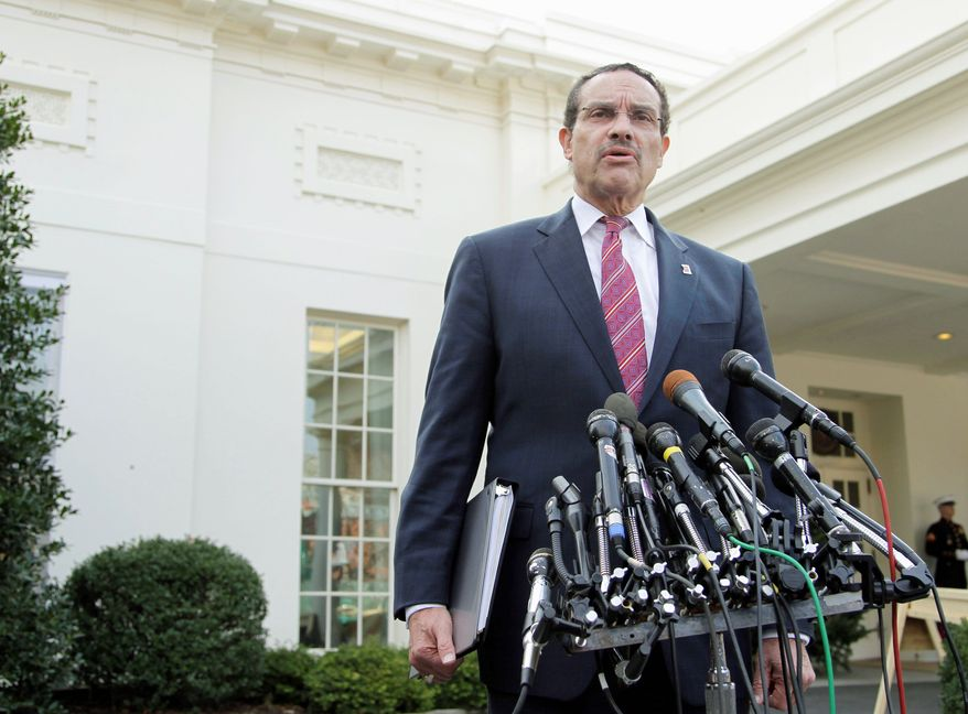"""ASSOCIATED PRESS D.C. Mayor-elect Vincent C. Gray speaks to the news media outside the White House on Wednesday after his luncheon meeting with President Obama. The president said, """"I'm unequivocally in support of voting rights for the District of Columbia,"""" according to Mr. Gray."""