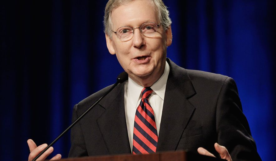 "Senate Minority Leader Mitch McConnell, Kentucky Republican has said that ""Republicans will vote against proceeding to any legislative matter until we've funded the government and protected every taxpayer from a tax hike."" (AP Photo)"