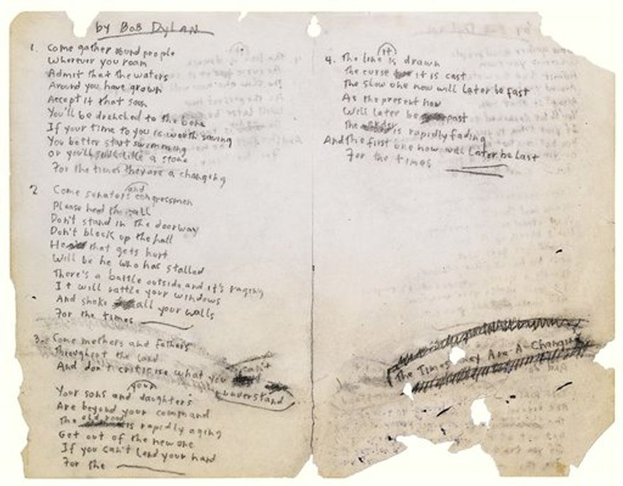 "In this undated photograph released Tuesday, Nov. 30, 2010, by Sotheby's in New York, is shown a page of hand-written lyrics by Bob Dylan for ""The Times They are A-Changin'."" The signed manuscript is to be auctioned Dec. 10, 2010. (AP Photo/Sotheby's) NO SALES"