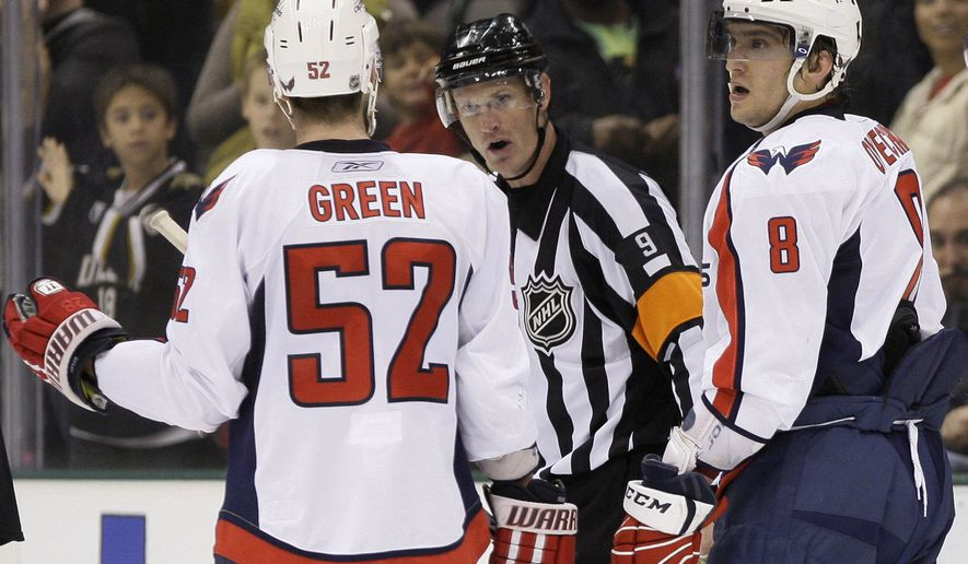 Washington Capitals defenseman Mike Green (52) and Alex Ovechkin (8) of Russia argue with referee Dan O'Rourke (9) in the closing seconds of the third period of an NHL hockey game against the Dallas Stars, Thursday, Dec. 2, 2010, in Dallas. A goal by the Capitals was with seconds left was disallowed by officials in the 2-1 Stars win. (AP Photo/Tony Gutierrez)