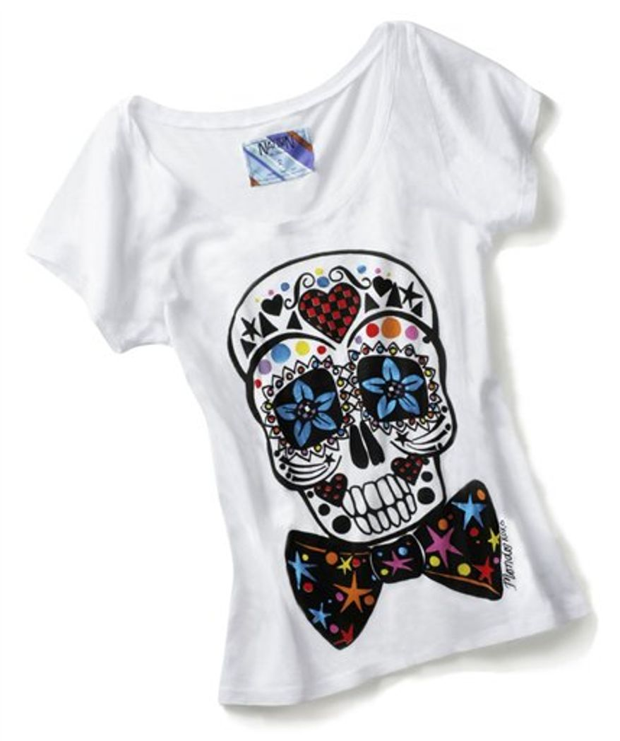 This product image courtesy of Piperlime shows a limited edition T-shirt designed by Mondo Guerra to benefit amFAR. Mondo designed two limited-edition T-shirts to launch Wednesday, to coincide with World AIDS Day. For each shirt sold, $20 will be donated to amFAR, an organization that focuses on AIDS research.  (AP Photo/Piperlime) NO SALES