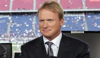 This Sept. 14, 2009, file photo, shows ESPN broadcaster Jon Gruden before an NFL football game between the New England Patriots and the Buffalo Bills in Foxborough, Mass. (AP Photo/Steven Senne, File)