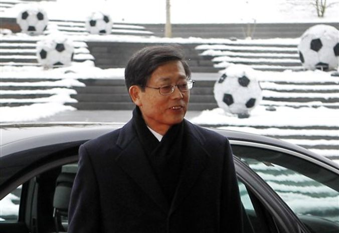 South Korean Prime Minister Kim Hwang-sik arrives to the FIFA headquarters in Zurich, Switzerland, Wednesday, Dec. 1, 2010. FIFA will choose the 2018 and 2022 soccer World Cup hosts with 22 executive committee members after the Oceania Football Confederation accepted the loss of its voting rights late Nov. 30, 2010. (AP Photo/Anja Niedringhaus)