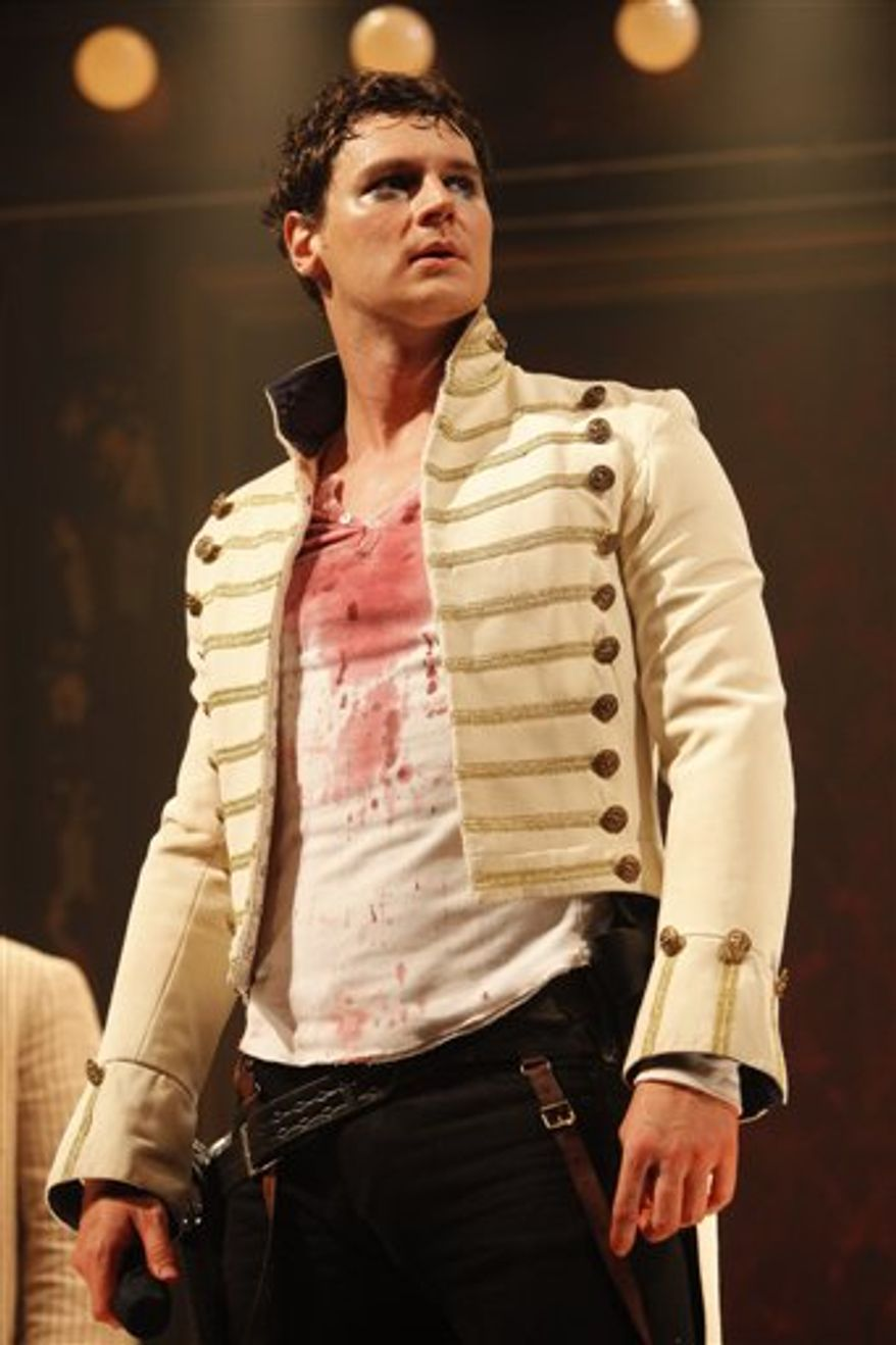 "In this undated theater publicity image released by Jeffrey Richards Associates, Benjamin Walker is shown in a scene from  ""Bloody Bloody Andrew Jackson"" at the Bernard B. Jacobs Theatre in New York. (AP Photo/Jeffrey Richards Associates, Joan Marcus)"