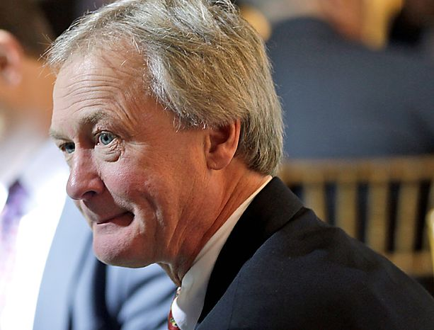 Rhode Island Gov.-elect Lincoln Chafee is seen at the Blair House across from the White House in Washington, Thursday, Dec. 2, 2010, before President Barack Obama spoke to newly elected governors. (AP Photo/Charles Dharapak)