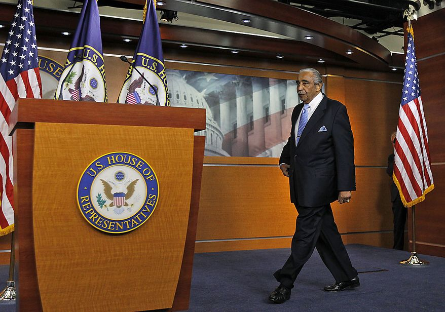 Rep. Charles Rangel, D-N.Y., walks to the podium to speak to the media after he was censured by the House, on Capitol Hill in Washington, Thursday, Dec. 2, 2010.(AP Photo/Alex Brandon)