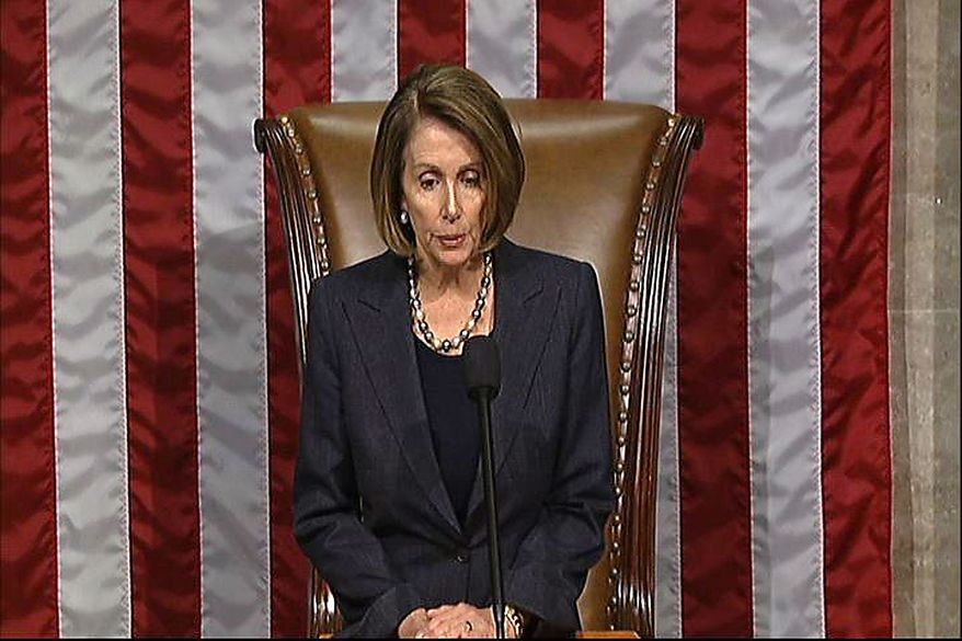 This video frame grab image provided by House Television shows House Speaker Nancy Pelosi reading the censure resolution as Rep. Charles Rangel, D-N.Y., not seen, stands in the well on the House floor on Capitol Hill in Washington, Thursday, Dec. 2, 2010. The House, for only the 23rd time invoked its most serious punishment short of expulsion on Rangel for financial and fundraising misconduct. (AP Photo/House Television)