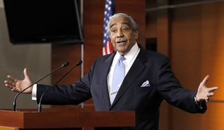 ** FILE ** Rep. Charles Rangel, New York Democrat, speaks to the media after he was censured by the House, on Capitol Hill in Washington, Thursday, Dec. 2, 2010. (AP Photo/Alex Brandon)