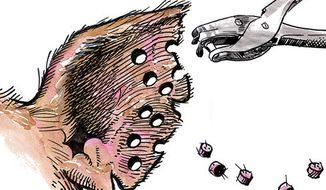 Illustration: Earmarks by Alexander Hunter for The Washington Times