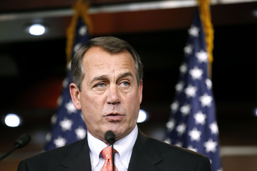 House Minority Leader John Boehner of Ohio speaks at a news conference on Capitol Hill in Washington on Thursday, Dec. 2, 2010. (AP Photo/Harry Hamburg)