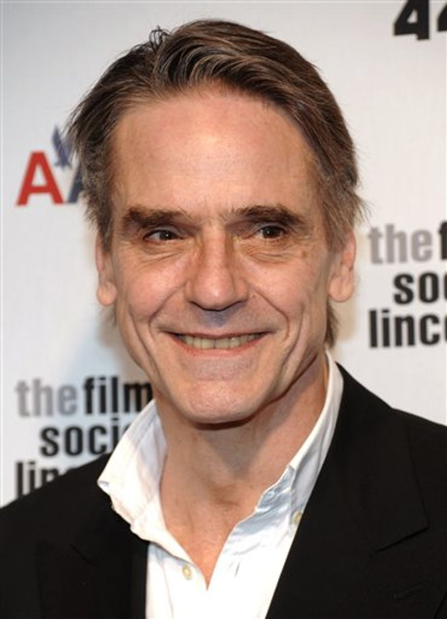 "FILE - In this April 27, 2009 file photo, actor Jeremy Irons attends The Film Society of Lincoln Center gala tribute to honor actor Tom Hanks at Alice Tully Hall in New York. Irons is dropping into ""Law & Order: Special Victims Unit"" to guest star as a sex therapist. A spokeswoman for the NBC crime drama said Friday, Dec. 3, 2010, that Irons' character runs a sex addiction clinic in the episode to be filmed later this month. It's set to air in early 2011. (AP Photo/Evan Agostini, file)"