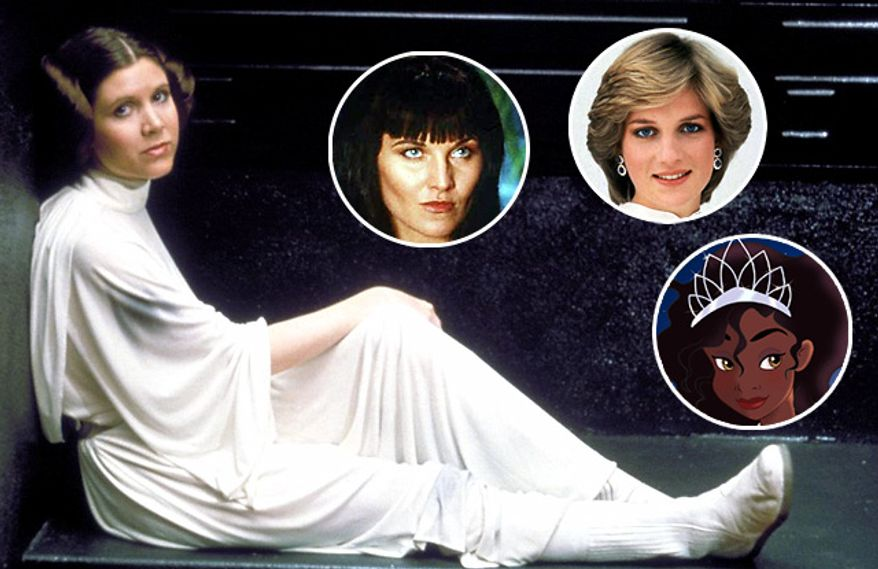 Famous princesses include Leia, Xena, Diana and Tiana. (Photos: LucasFIlm Ltd., Associated Press and Disney Pictures)