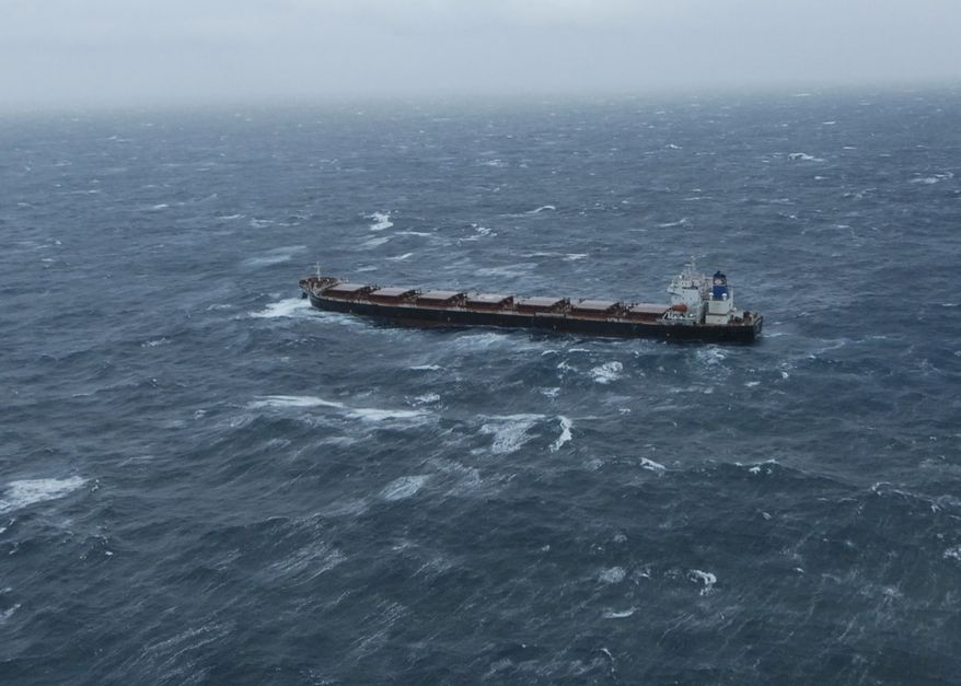 The 738-foot tanker Golden Seas makes 3.5 mph through 20-foot seas north of Adak Island, Alaska, on Friday, Dec. 3, 2010. Coast Guard aircrews were launched from Air Station Kodiak in response to a report that the Golden Seas had lost propulsion and was drifting, but the crew of the vessel reported to a Coast Guard HC-130 Hercules aircrew that they had regained propulsion and were awaiting a tug to escort them to Dutch Harbor. (AP Photo/U.S. Coast Guard, Petty Officer 1st Class Sara Francis)
