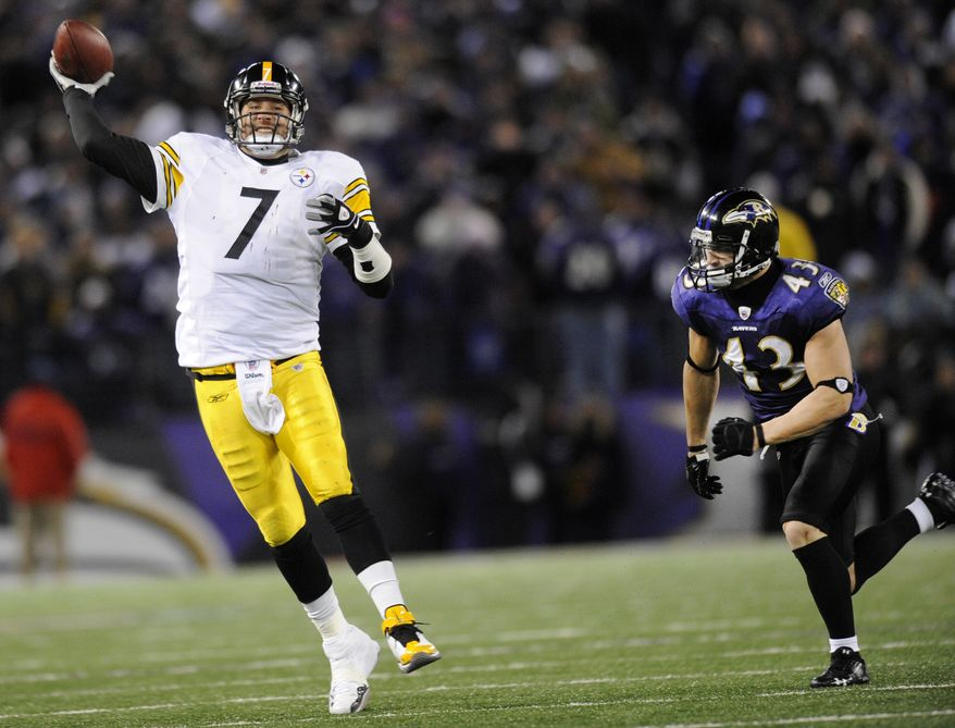 Pittsburgh Steelers quarterback Ben Roethlisberger (7) throws a pass while being pressured by Baltimore Ravens safety Haruki Nakamura (43) pressures him during the second half of an NFL football game, Sunday, Dec. 5, 2010, in Baltimore. (AP Photo/Nick Wass)