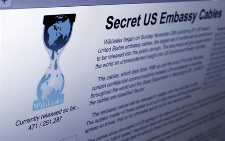 **FILE** The Internet homepage of WikiLeaks is shown in this photo taken in New York on Dec. 1, 2010. (Associated Press)