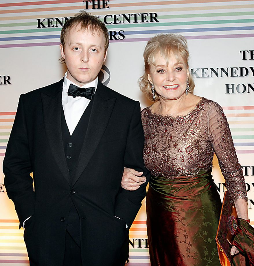 James McCartney, left, son of Paul McCartney, and Barbara Walters walk the red carpet at the Kennedy Center Honors in Washington, on Sunday, Dec. 5, 2010. The 2010 honorees were Merle Haggard, Jerry Herman, Bill T. Jones, Mr. McCartney and Oprah Winfrey. (AP Photo/Jacquelyn Martin)