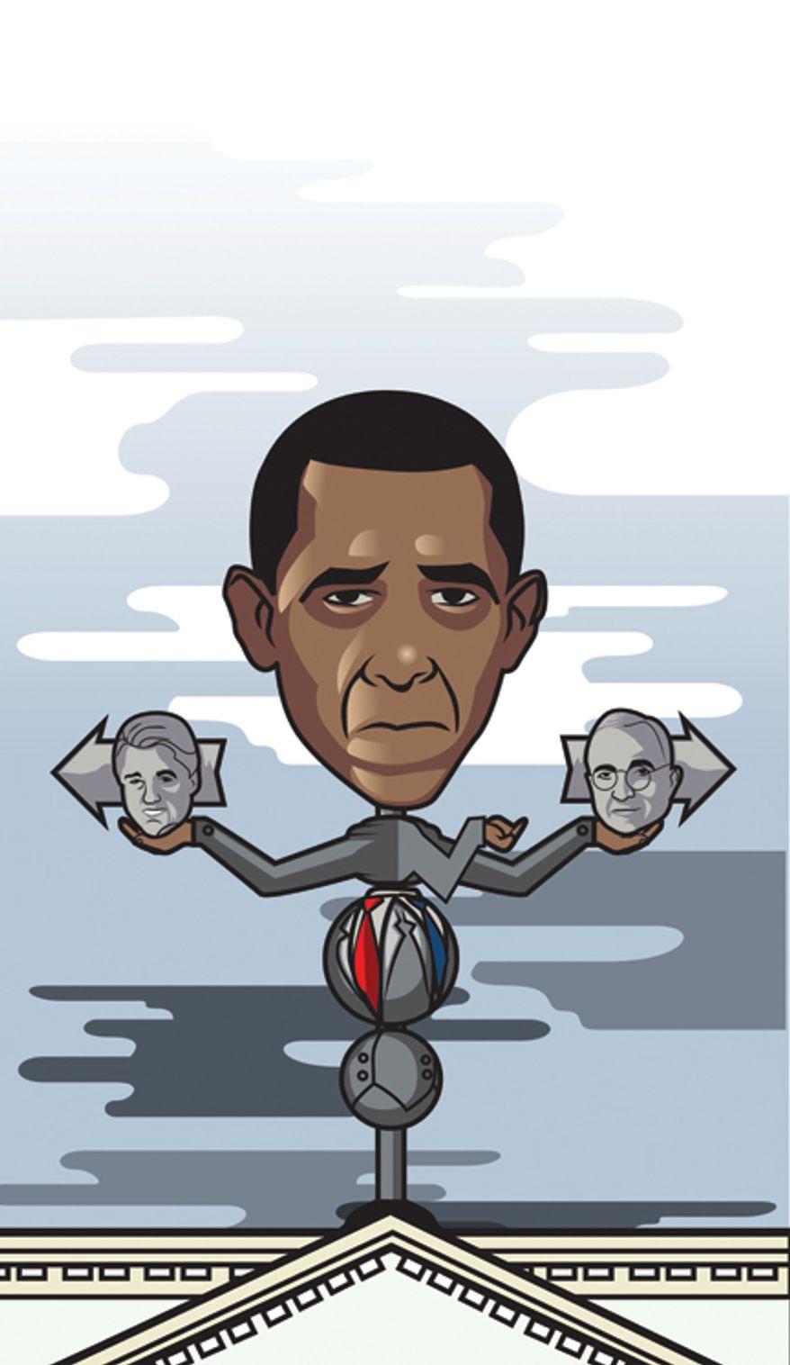 Illustration: Obama by Linas Garsys for The Washington Times