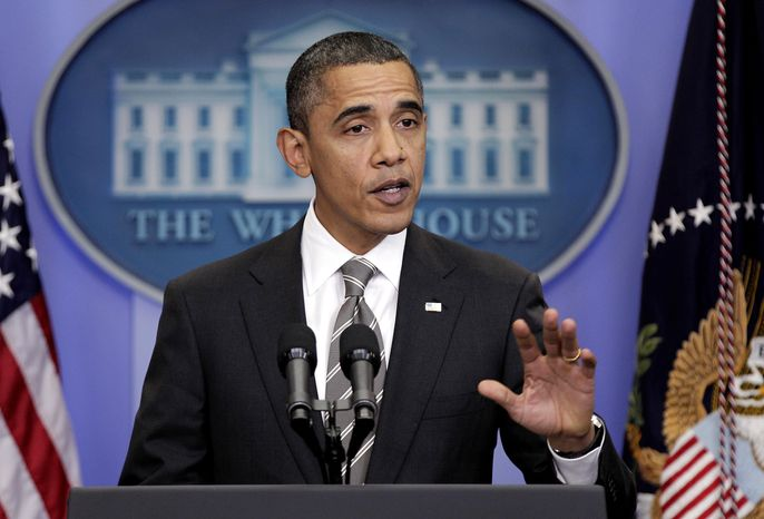 President Obama makes a opening statement during a press conference in the White House briefing room in Washington on Tuesday, Dec. 7, 2010. (AP Photo/J. Scott Applewhite)
