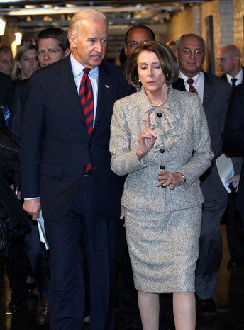 Vice President Joseph R. Biden Jr. and House Speaker Nancy Pelosi leave a Democratic Caucus meeting Wednesday. Mr. Biden has made personal pleas to both the Senate and House Democratic caucuses. (Associated Press)